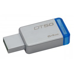 Kingston Technology DataTraveler 50 64GB USB flash drive 3.0 (3.1 Gen 1) USB-Type-A-aansluiting Blauw, Zilver